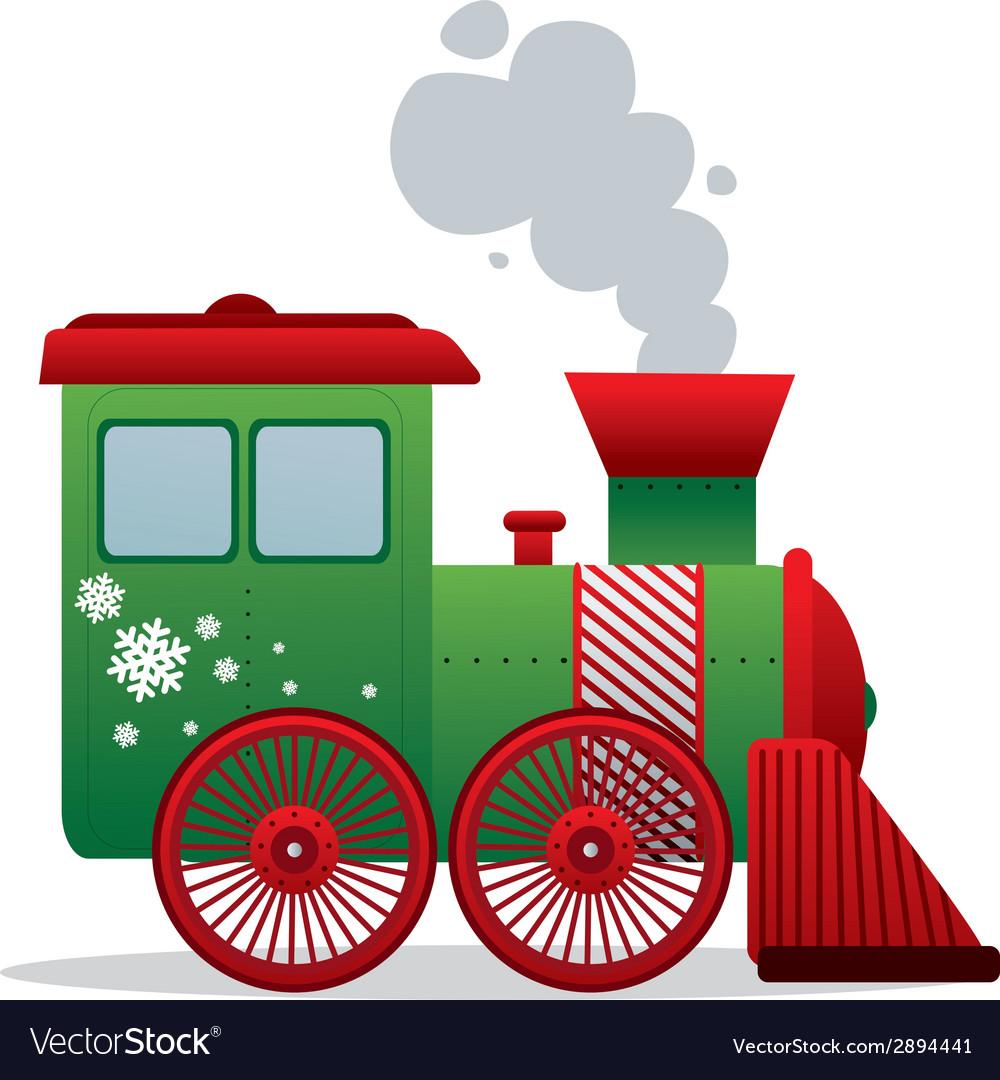 Christmas train isolated vector