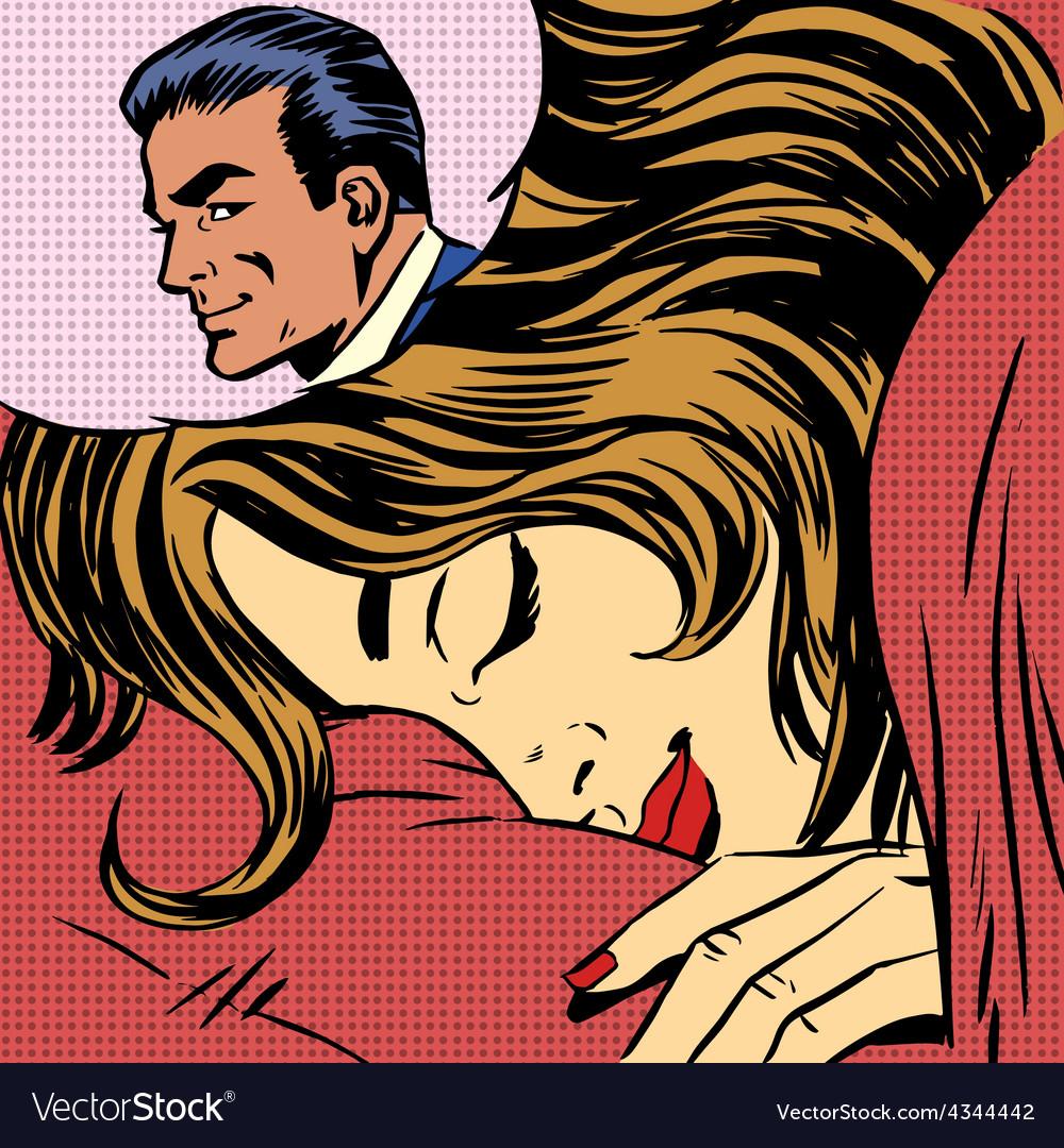 Dream woman man love romance lovers pop art comics vector