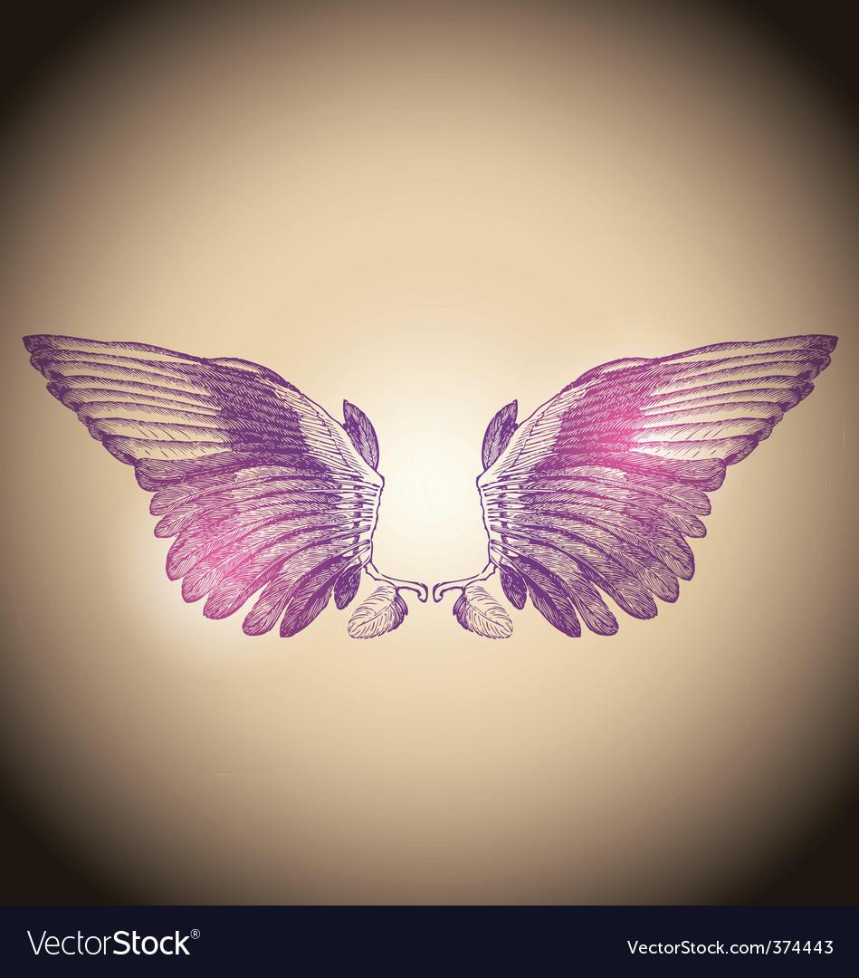 Engraved wings vector