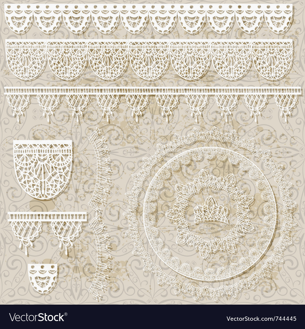 Lacy scrapbook design patterns vector