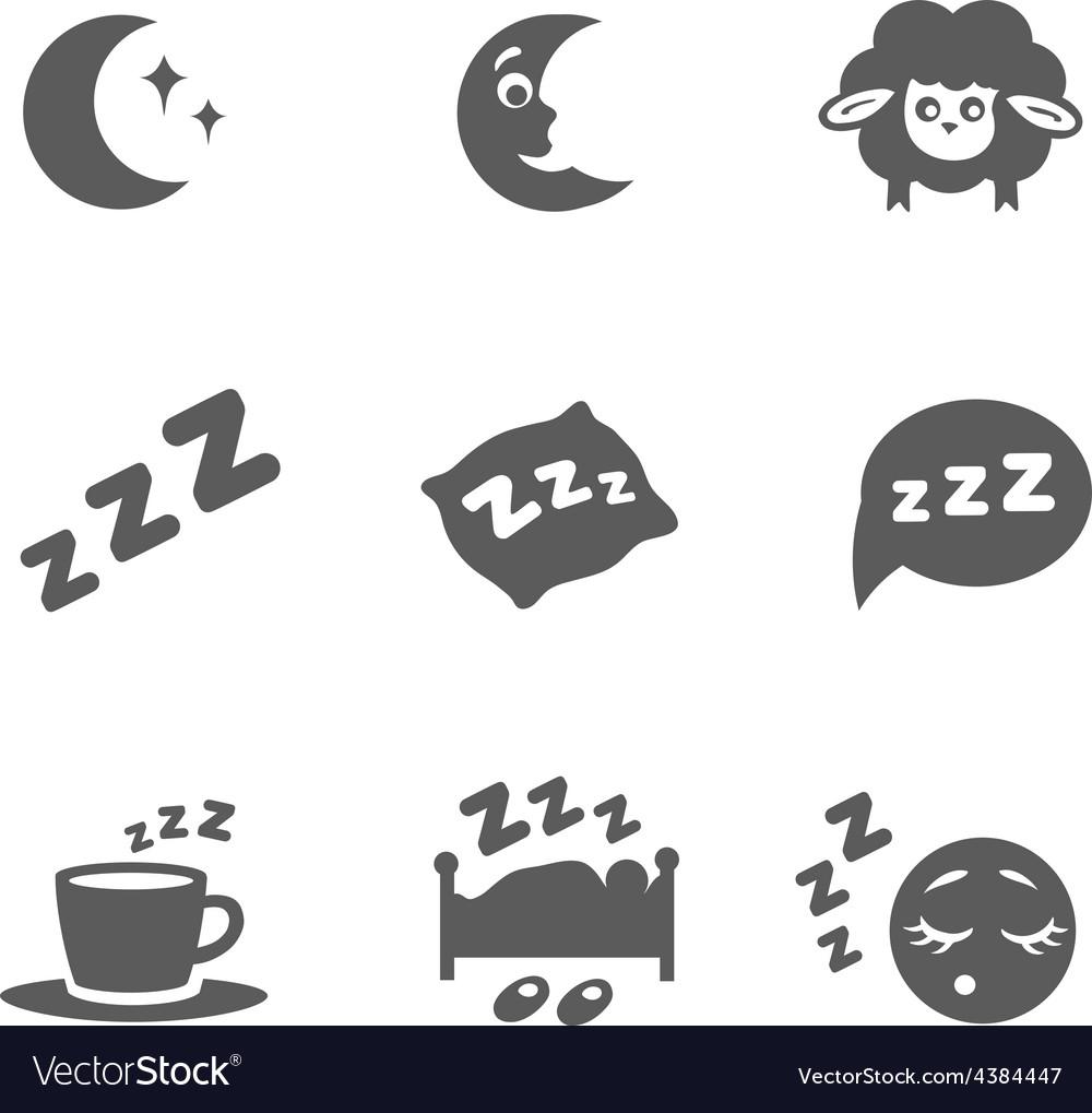 Isolated sleep icons set vector