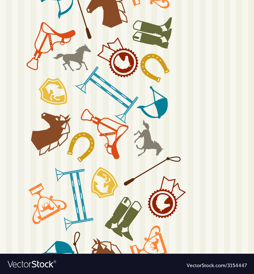 Seamless pattern with horse equipment in flat vector