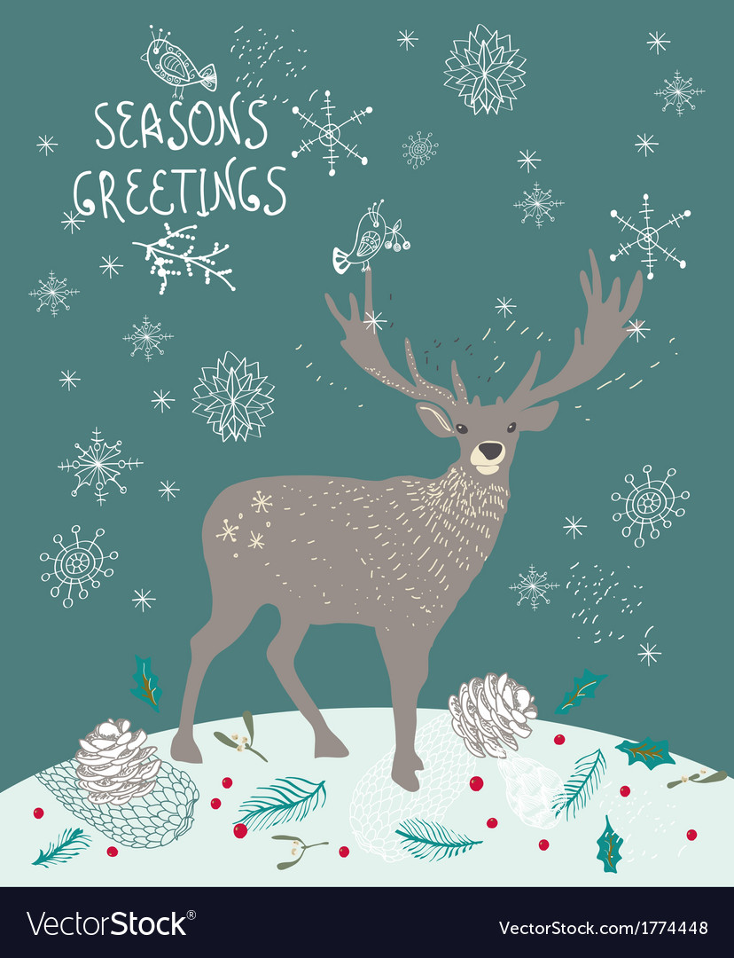 Christmas background with deer and snowflakes vector