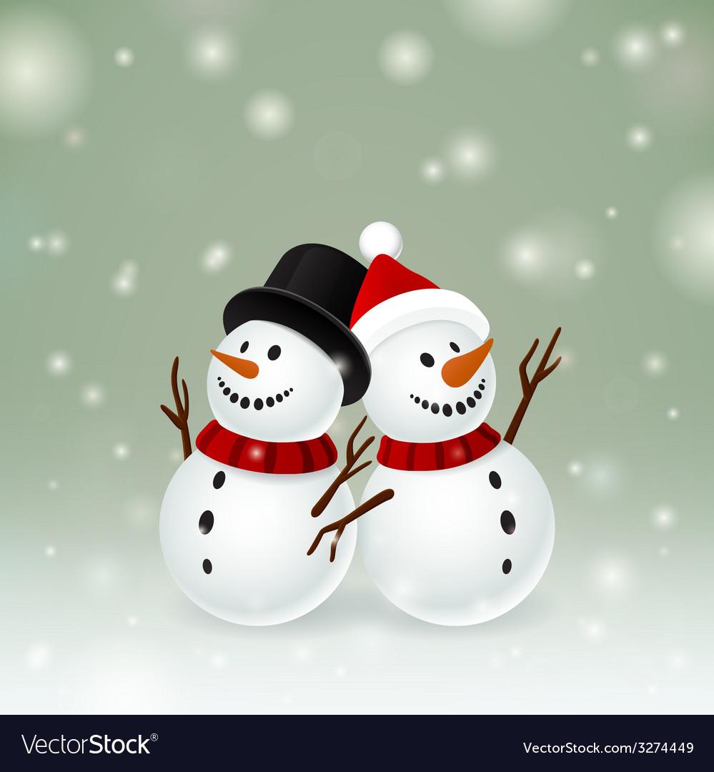 Two smiley snowman vector