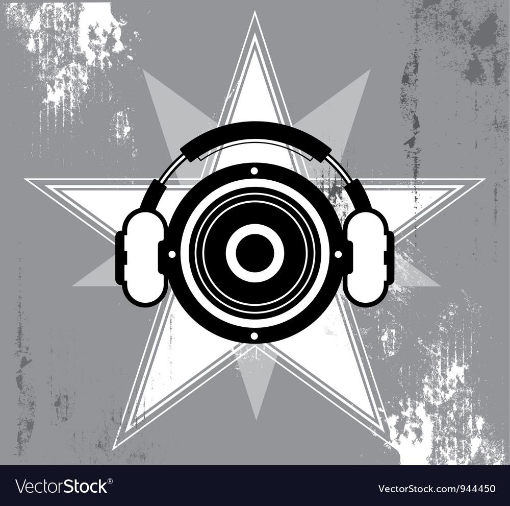Grunge music star design vector