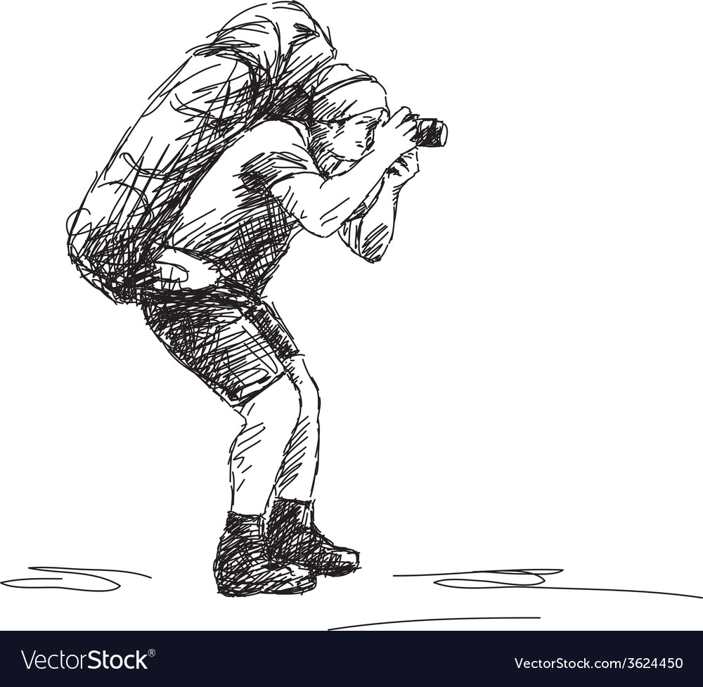 Photographer backpacker vector