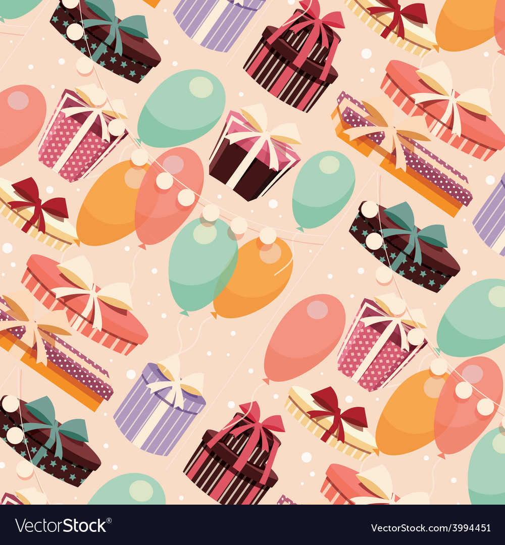 Birthday seamless background presents balloons vector
