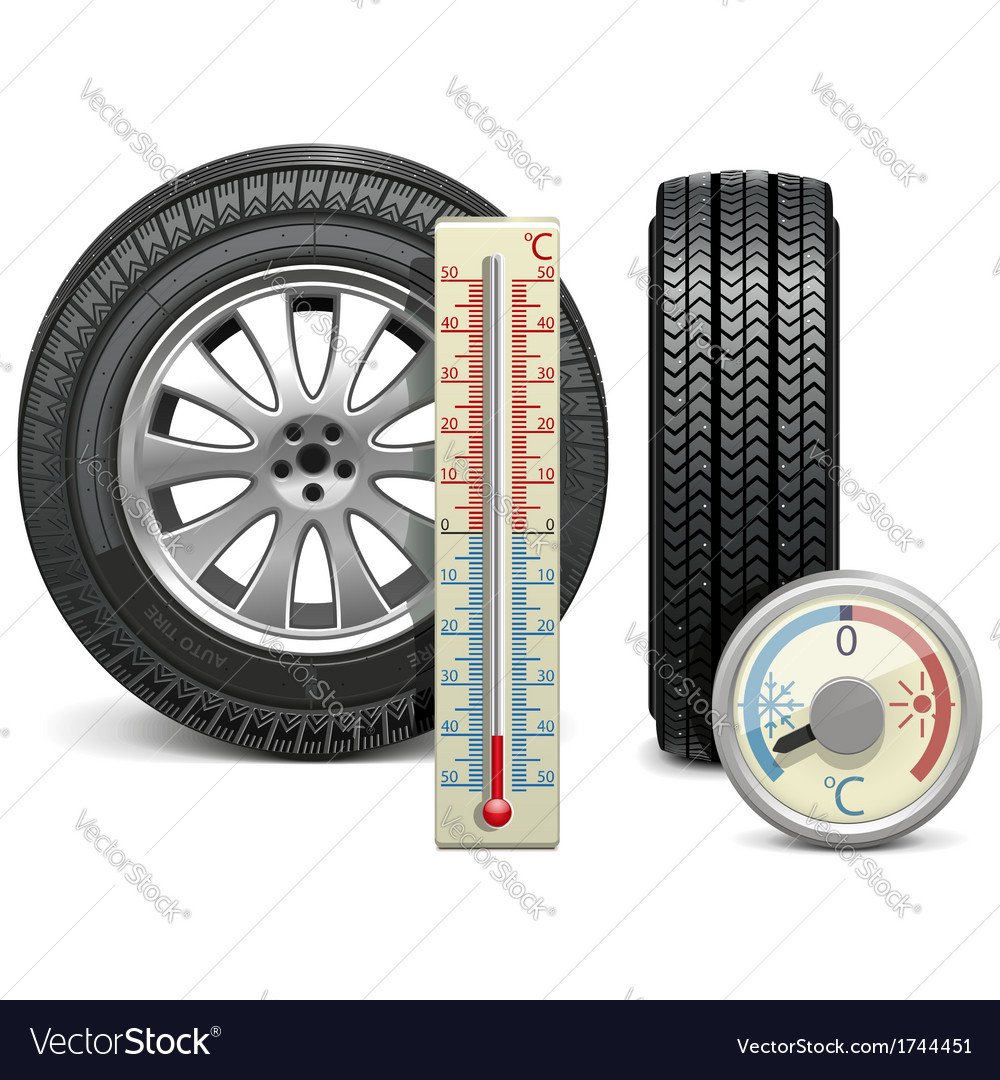 Winter tire and thermometer vector