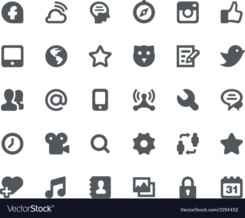 30 social media network icons vector