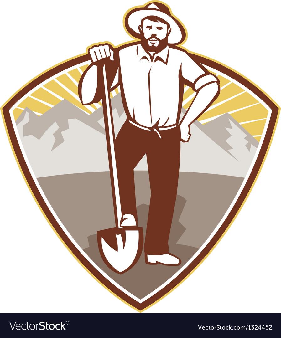 Gold digger miner prospector shield vector