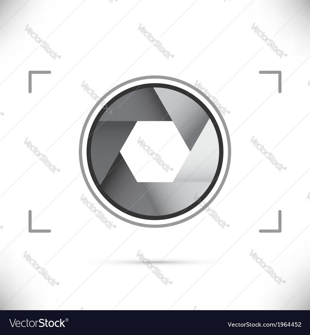 Gray stylized camera shutter diaphragm vector