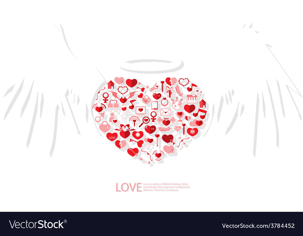 Red icon heart angel valentines day card with sign vector
