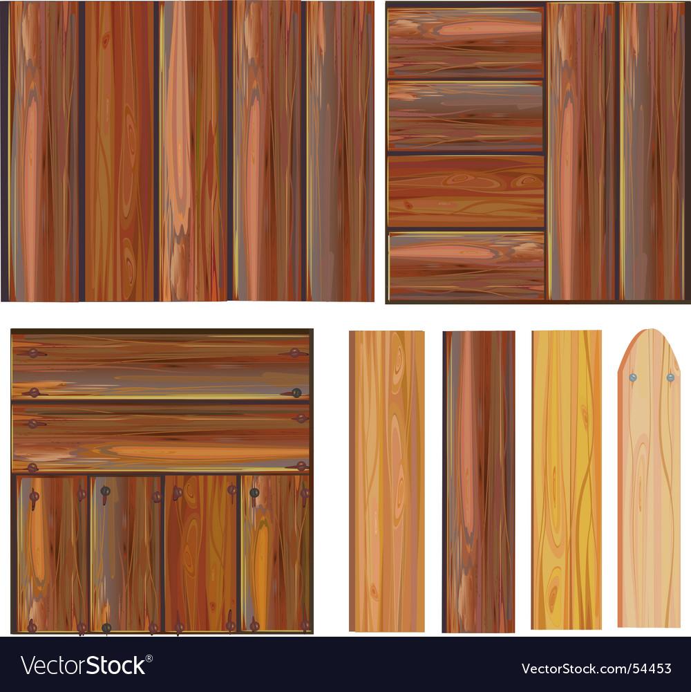 Set of wooden boards vector