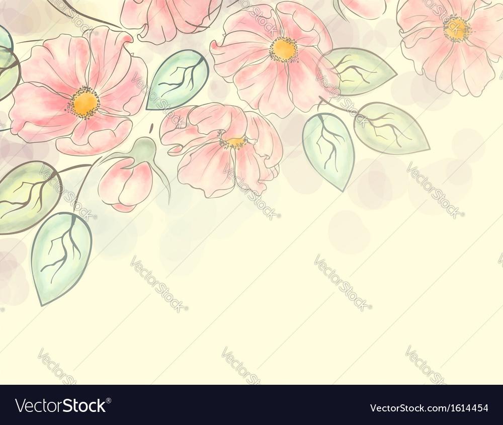 Watercolor floral ornament vector