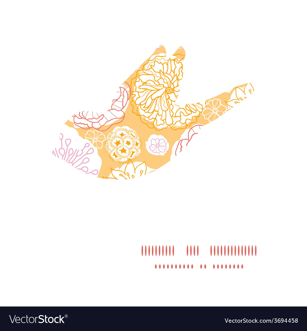 Warm day flowers bird silhouette pattern vector