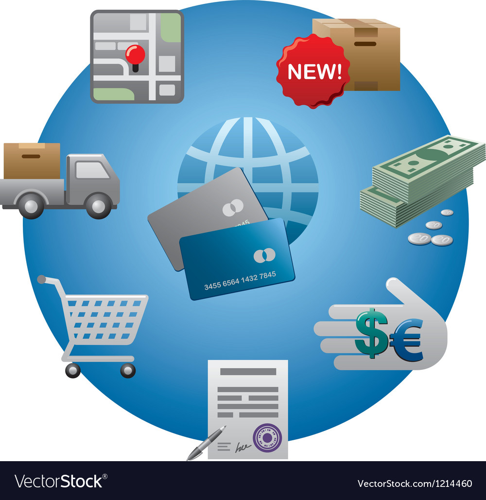 Internet shopping icon set vector