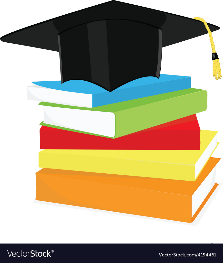 Graduation cap and book stack vector