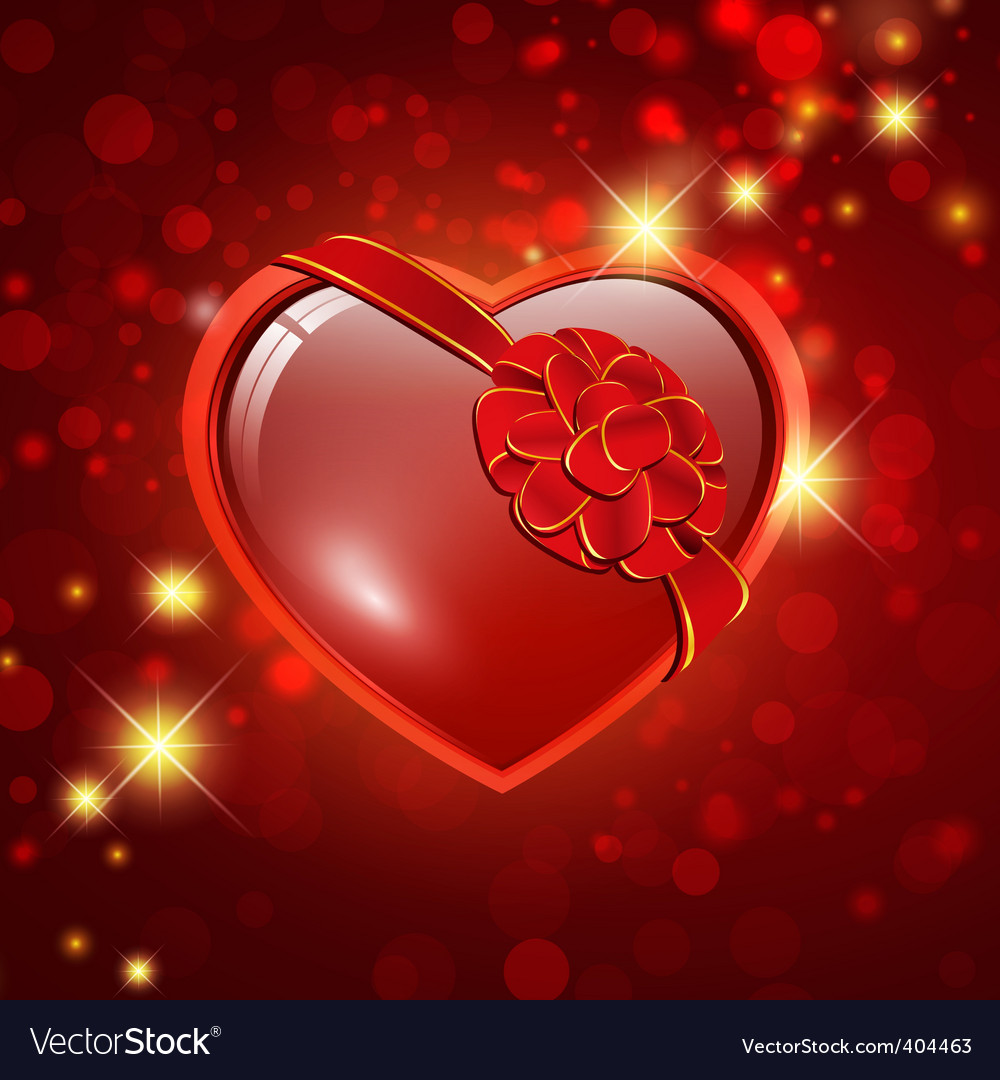 Heart with ribbon bow vector