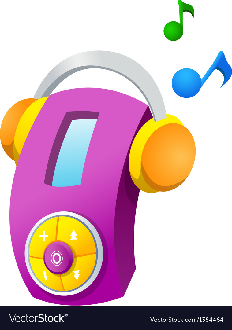 Icon music player and headphone vector