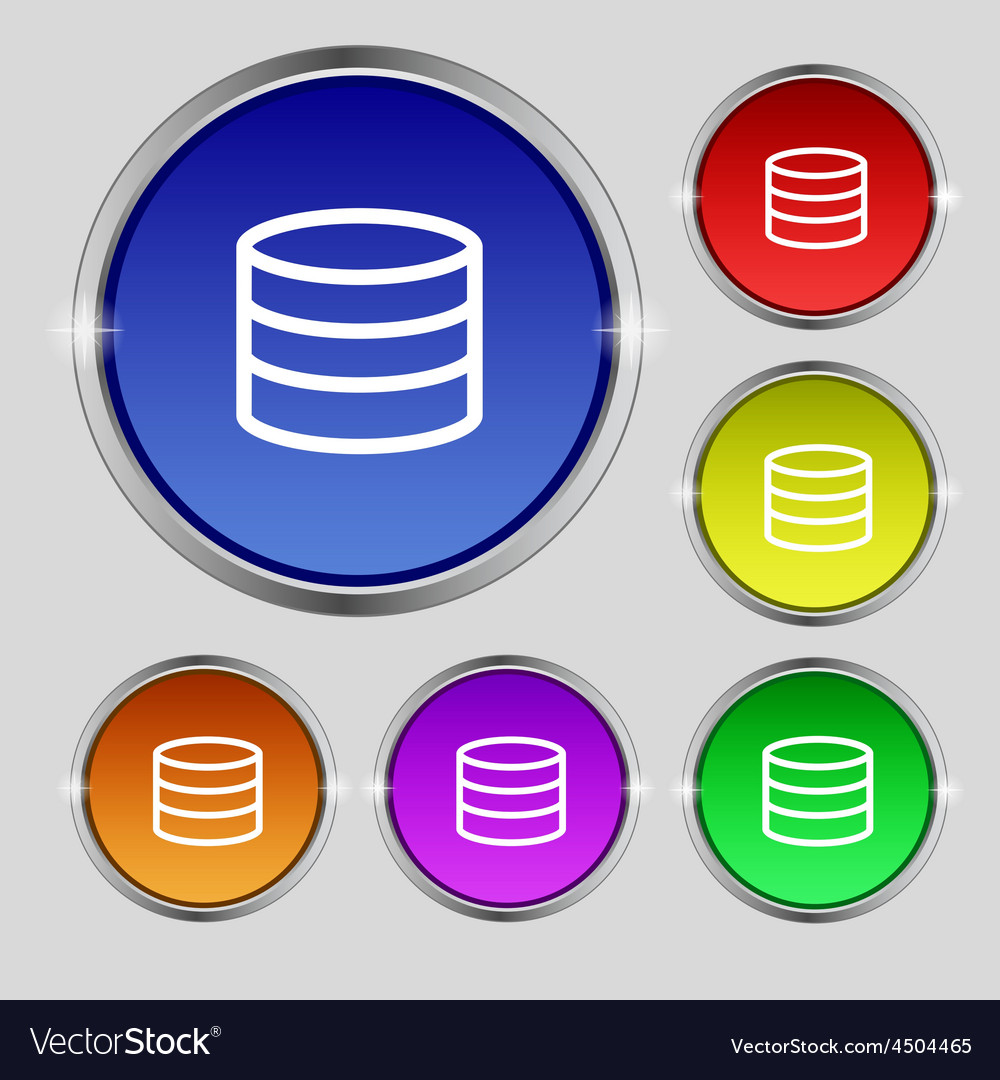 Hard disk and database icon sign round symbol on vector