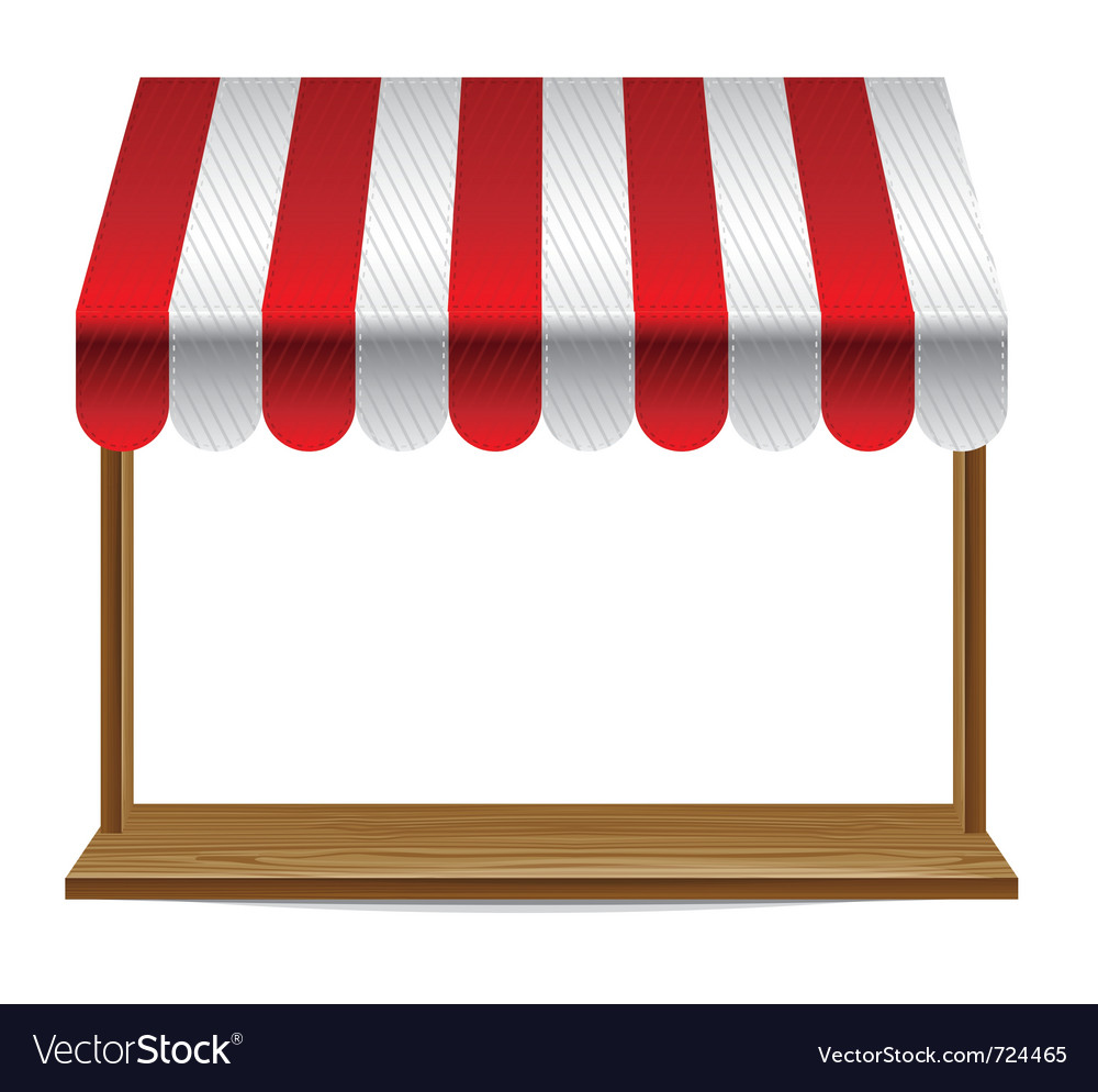 Store window with striped awning - vector