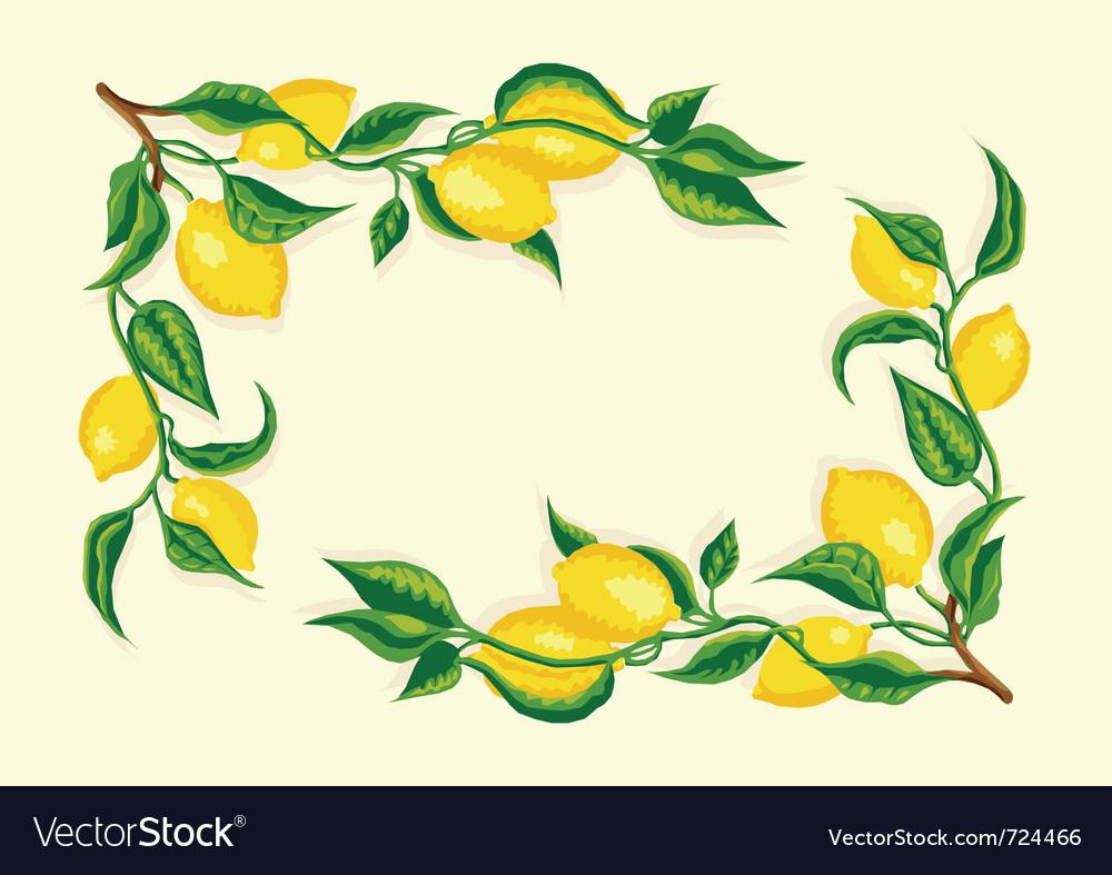 Stylized lemon corner frame vector
