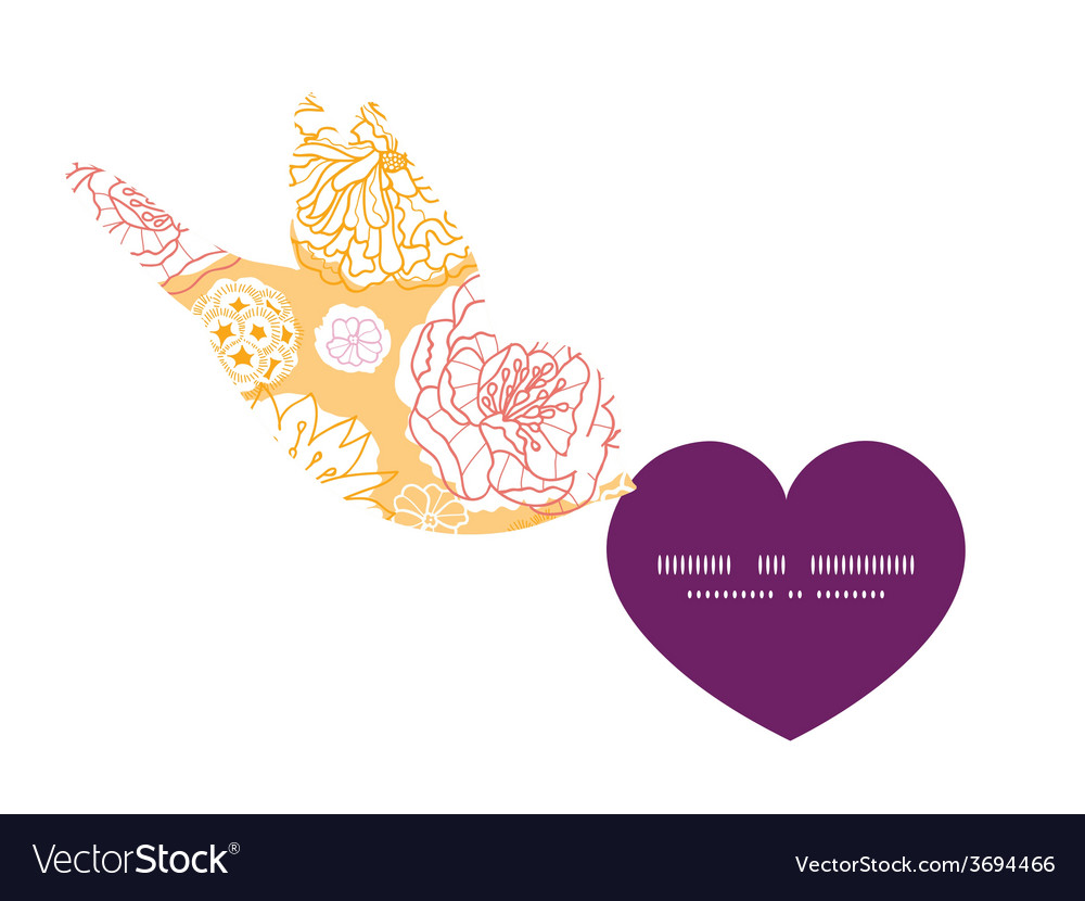 Warm day flowers birds holding heart vector