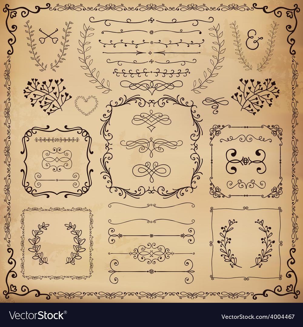 Vintage hand drawn design elements vector