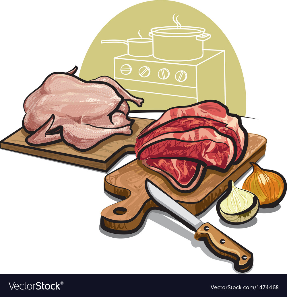Raw meat for cooking vector