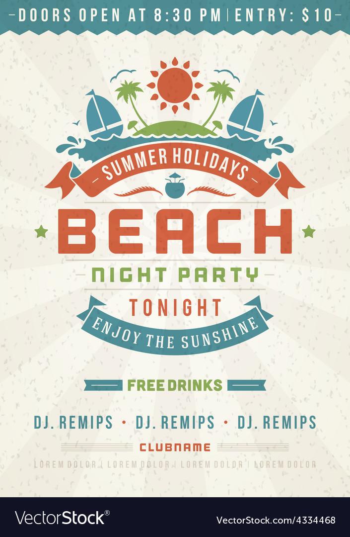 Retro beach poster design vector