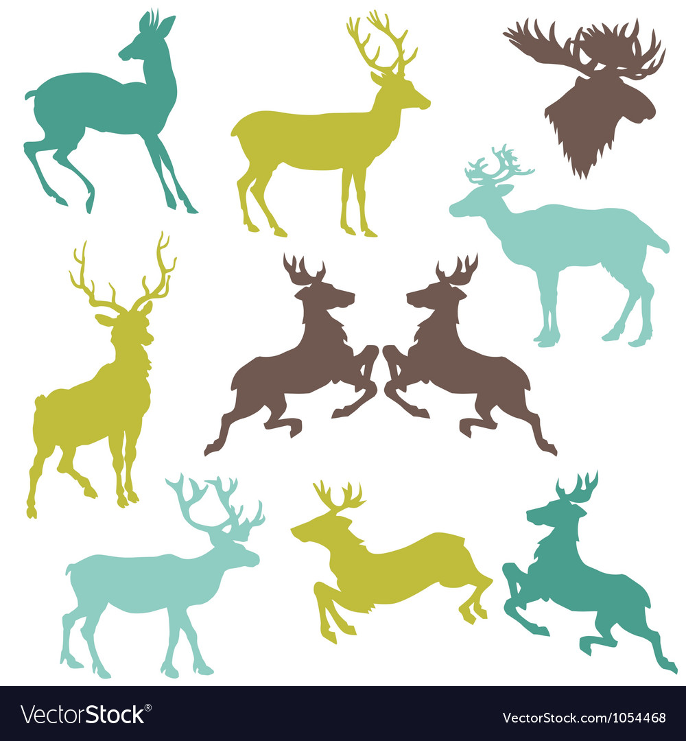 Set of reindeer christmas silhouettes vector