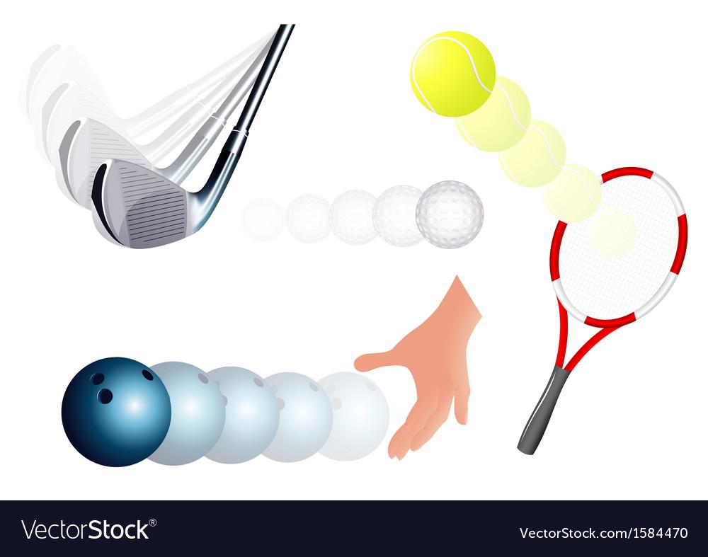 Ball kick set vector