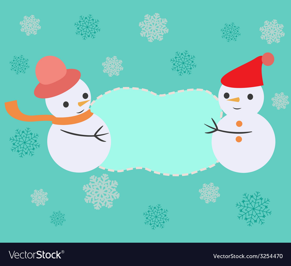 Greeting card with christmas frame - vector