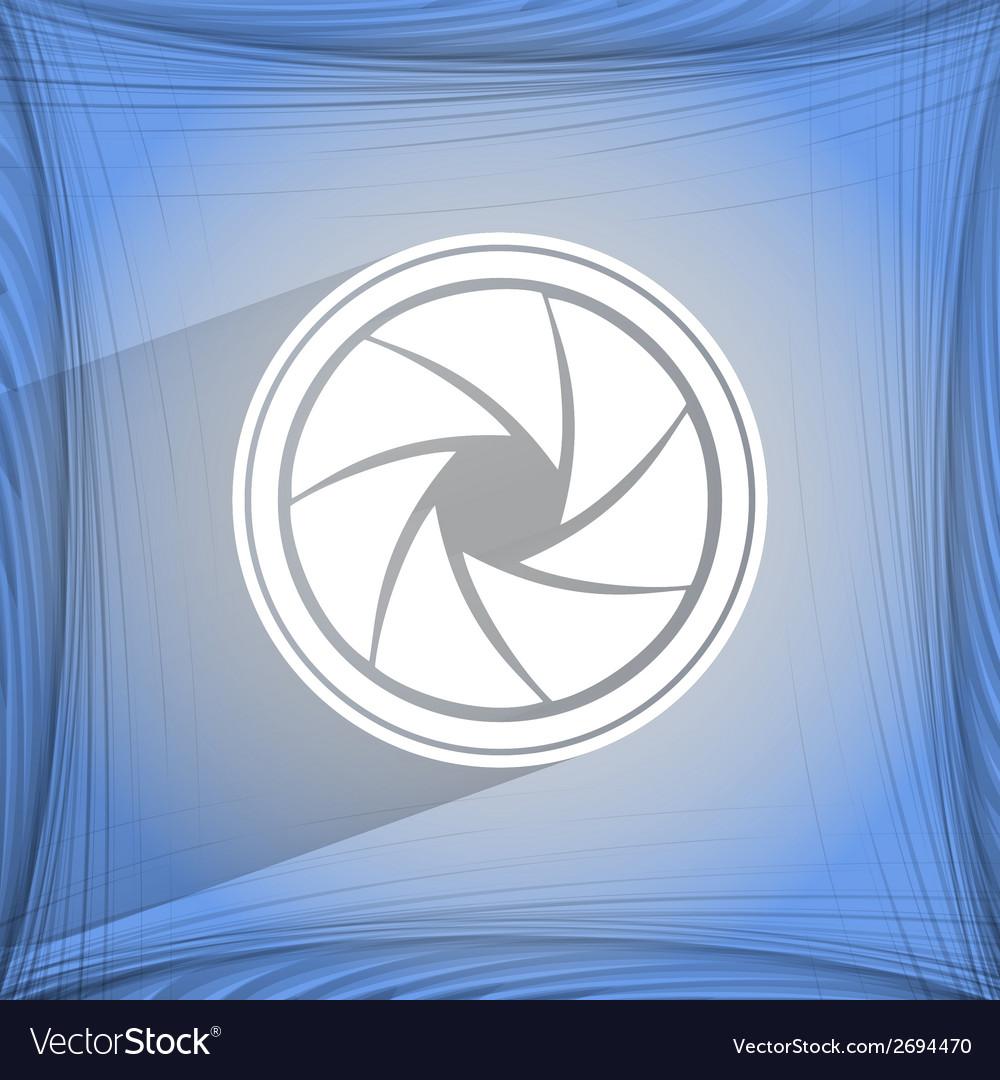 Photo camera diaphragm flat modern web button on a vector