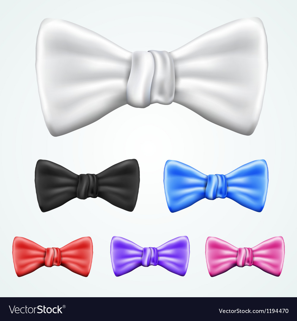 Set of 6 bowties in different colors vector