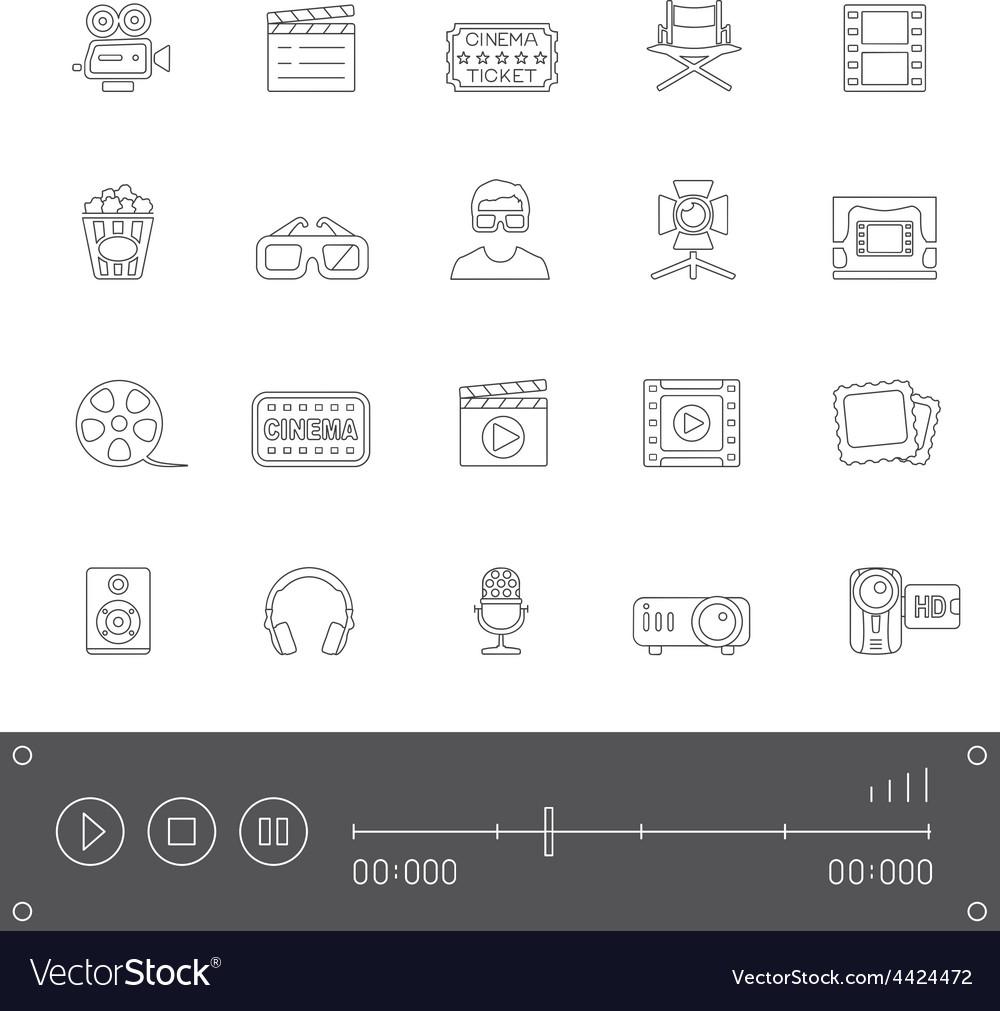 Line icons cinema vector