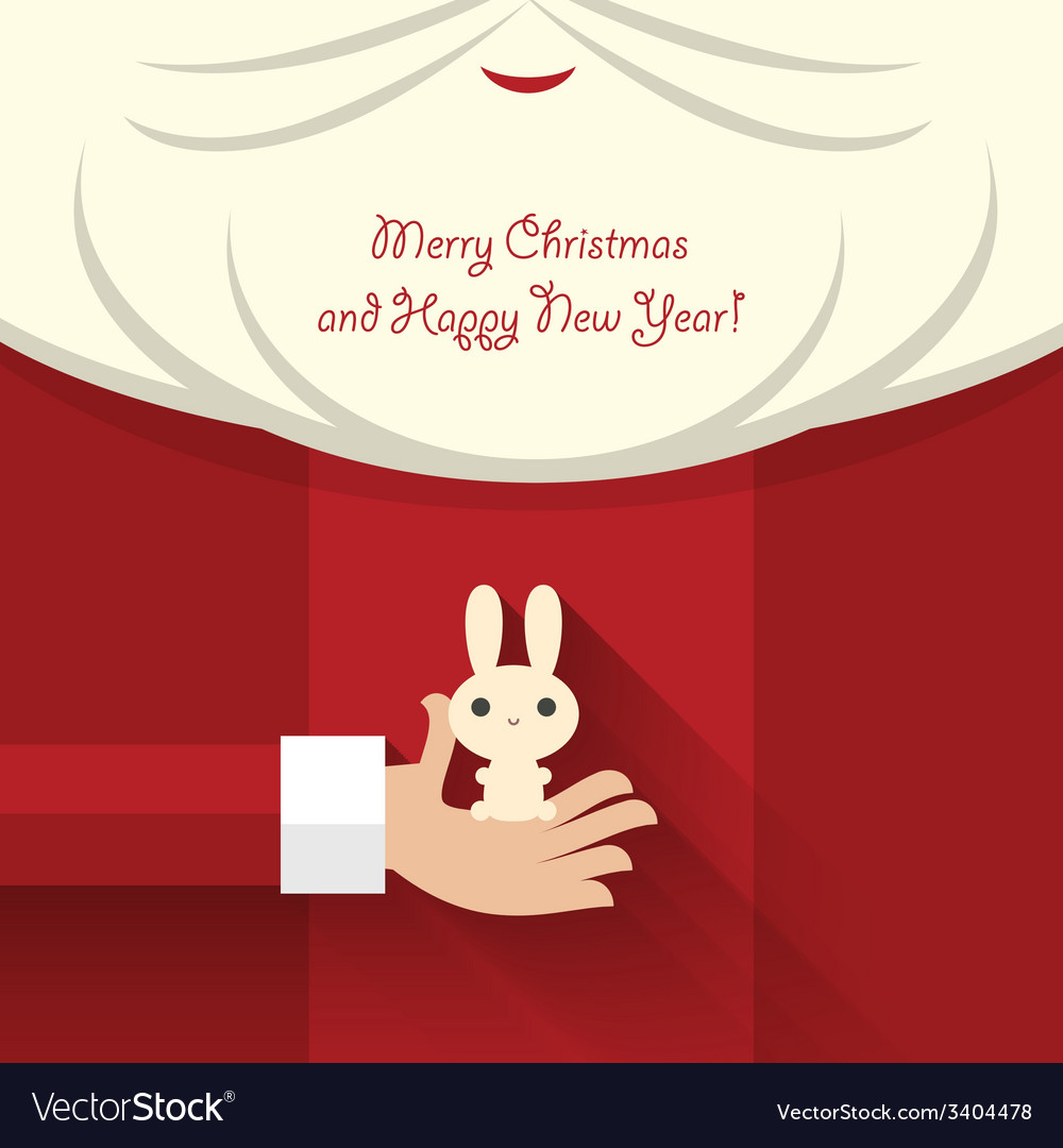 Santa claus holds bunny vector