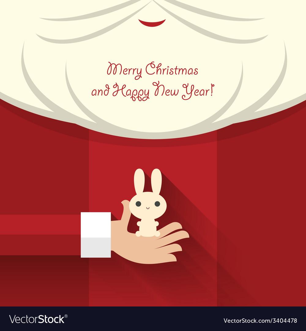 Santa claus holds bunny vector