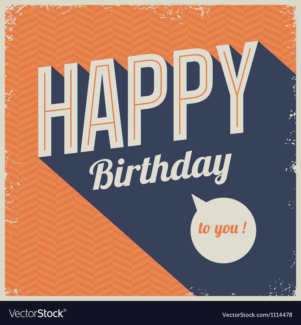 Vintage retro happy birthday card vector