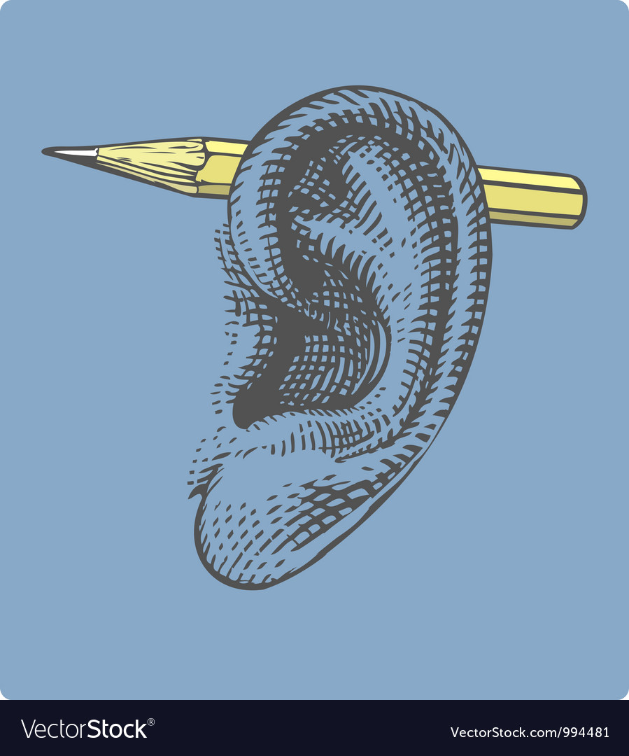 Pencil on ear in engraved style vector