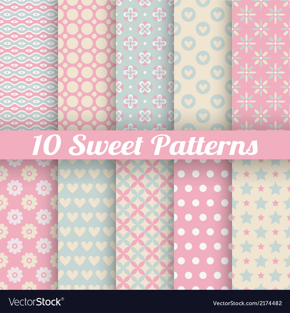 10 sweet cute seamless patterns tiling vector