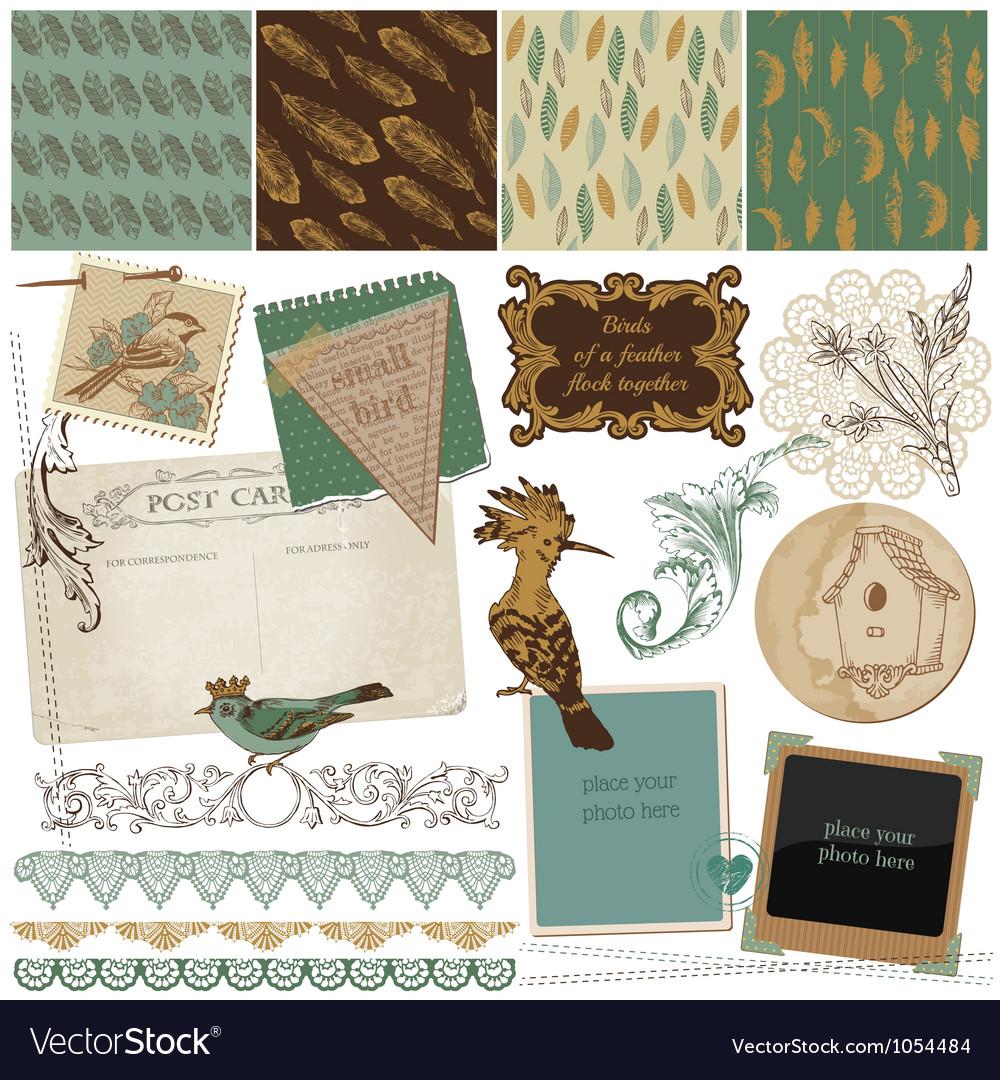 Design elements - vintage bird feathers vector