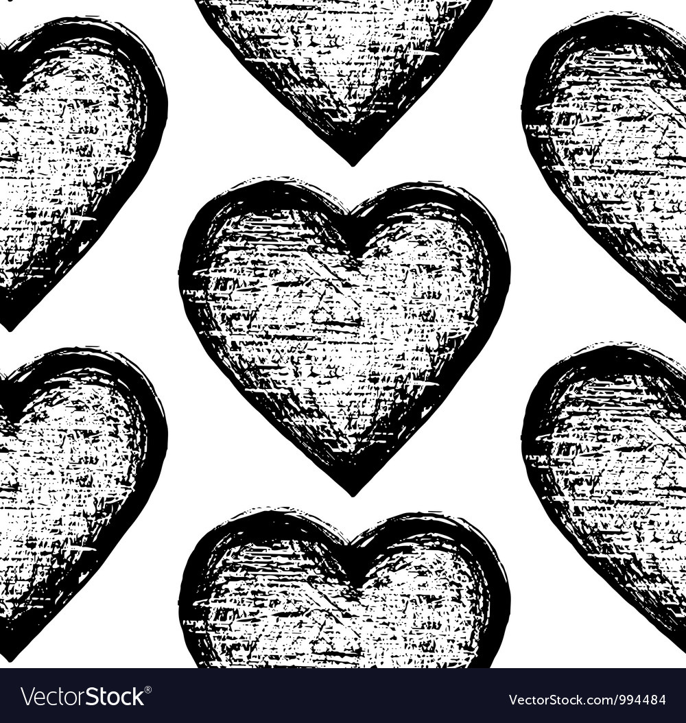Seamless sketchy pattern heart vector