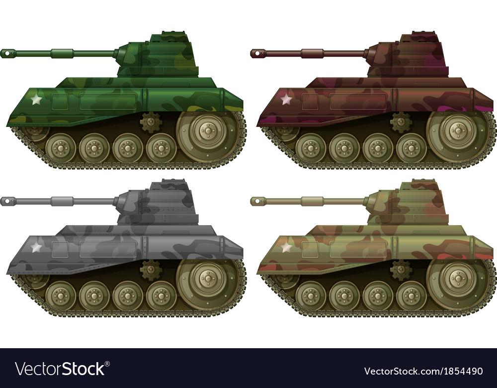 Four combat tanks vector