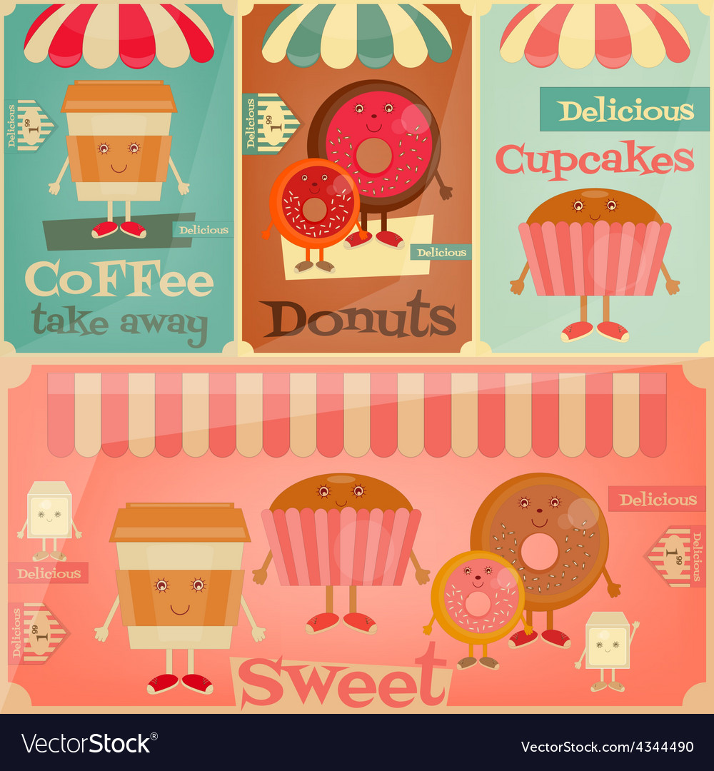 Sweet shop set vector