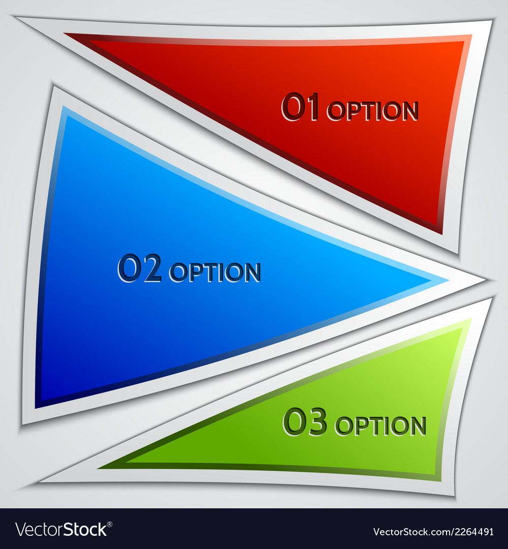Set of triangle banners or menu choices vector