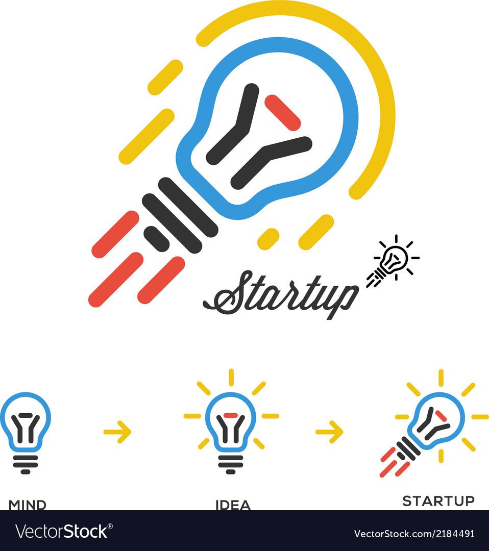 Start up business concept network bulb-rocket vector