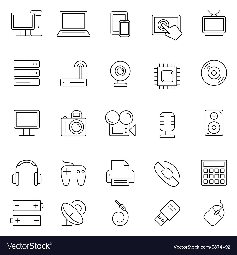 Technology and electronics icons vector