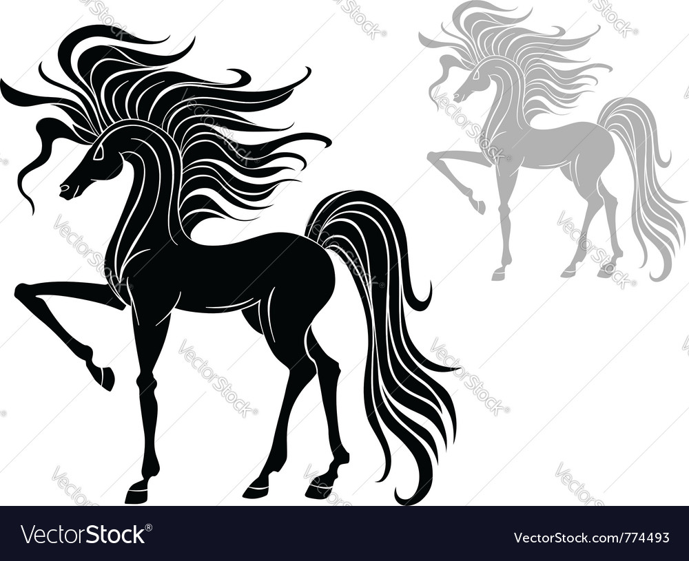 Silhouette of a stallion vector