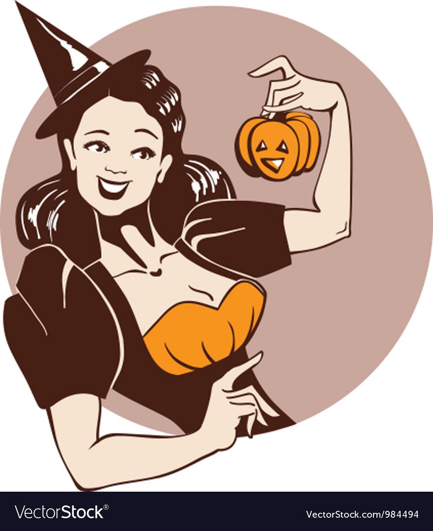 Halloween pinup girl vector